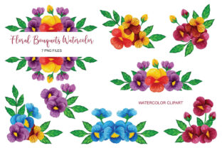 Pansy Flower Watercolor Clip Art Set PNG Graphic Print Templates By UrufaArt