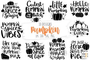 Print on Demand: Pumpkin Quotes Bundle, Thanksgiving SVG Graphic Crafts By dapiyupi