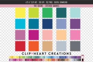 Stitched Square Clip Art - 100 Colors Graphic Icons By clipheartcreations