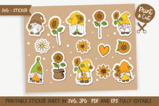 Print on Demand: Sunflower Gnome Sticker SVG Graphic Illustrations By Chonnieartwork