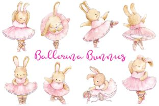 Watercolor Ballerina Bunnies Graphic Illustrations By Jen Digital Art