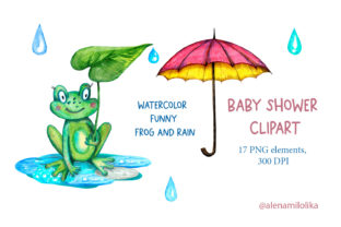 Watercolor Frog. Baby Shower Clipart Graphic Illustrations By Alenamilolika