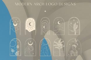 Print on Demand: White Color Bohemian Modern Arch Logos. Graphic Logos By Olya.Creative