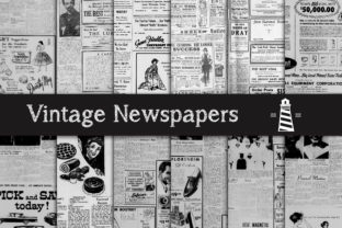 Print on Demand: Antique Newspaper Advertising Graphic Backgrounds By northseastudio