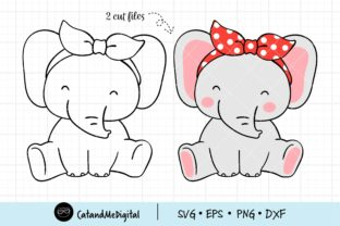 Baby Elephant with Bandana Svg Graphic Illustrations By CatAndMe