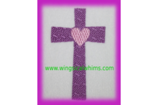 Cross with Heart Easter Embroidery Design By Wingsical Whims Designs