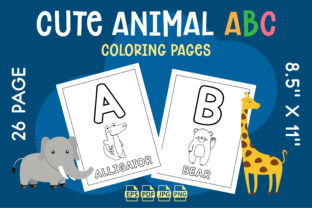 Cute Animal Alphabet ABC Coloring Pages Graphic KDP Interiors By Vibgyor
