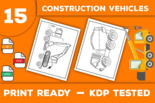 Print on Demand: Cute Construction Vehicles Coloring Page Graphic Coloring Pages & Books Kids By Trend Color