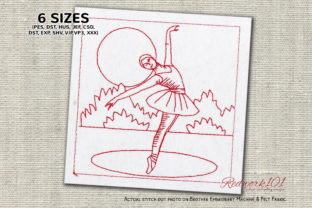 Dancing Ballerina Girl Dance & Drama Embroidery Design By Redwork101
