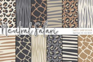 Digital Paper Pack NEUTRAL SAFARI Graphic Patterns By Sweet Shop Design