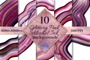 Print on Demand: Glittery Pink Alcohol Ink Backgrounds Graphic Backgrounds By SapphireXDesigns