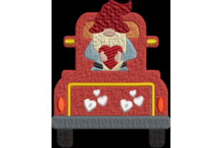 Gnome in Truck Valentine's Day Embroidery Design By Wingsical Whims Designs