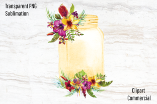 Print on Demand: Mason Jar with Watercolor Tropic Flowers Graphic Graphic Templates By Blueberry Jam Design