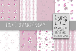 Pink Christmas Gnome Digital Paper Graphic Illustrations By Celebrately Graphics