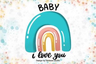 Print on Demand: Rainbow, Welcome Baby, Card for Baby, Ba Graphic Graphic Templates By Ginkean