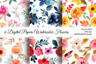 Print on Demand: Seamless Pattern Floral Watercolor 140 Graphic Patterns By asrulaqroni