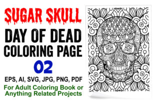 Sugar Skull Coloring Page for Adults - 2 Graphic Coloring Pages & Books Adults By XpertDesigner