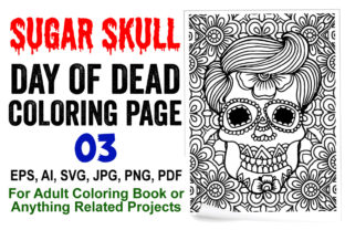 Sugar Skull Coloring Page for Adults - 3 Graphic Coloring Pages & Books Adults By XpertDesigner