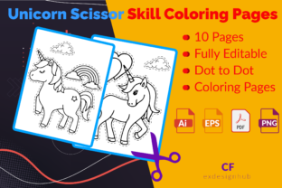 Unicorn Scissor Skill Coloring Pages 01 Graphic Coloring Pages & Books By exdesignhub