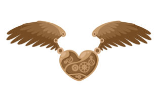 Steampunk Heart with Wings Steampunk Craft Cut File By Creative Fabrica Crafts