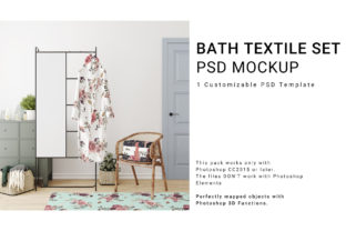 Bath Robe, Towels and Bath Mat Set Graphic Product Mockups By nomoresunrise