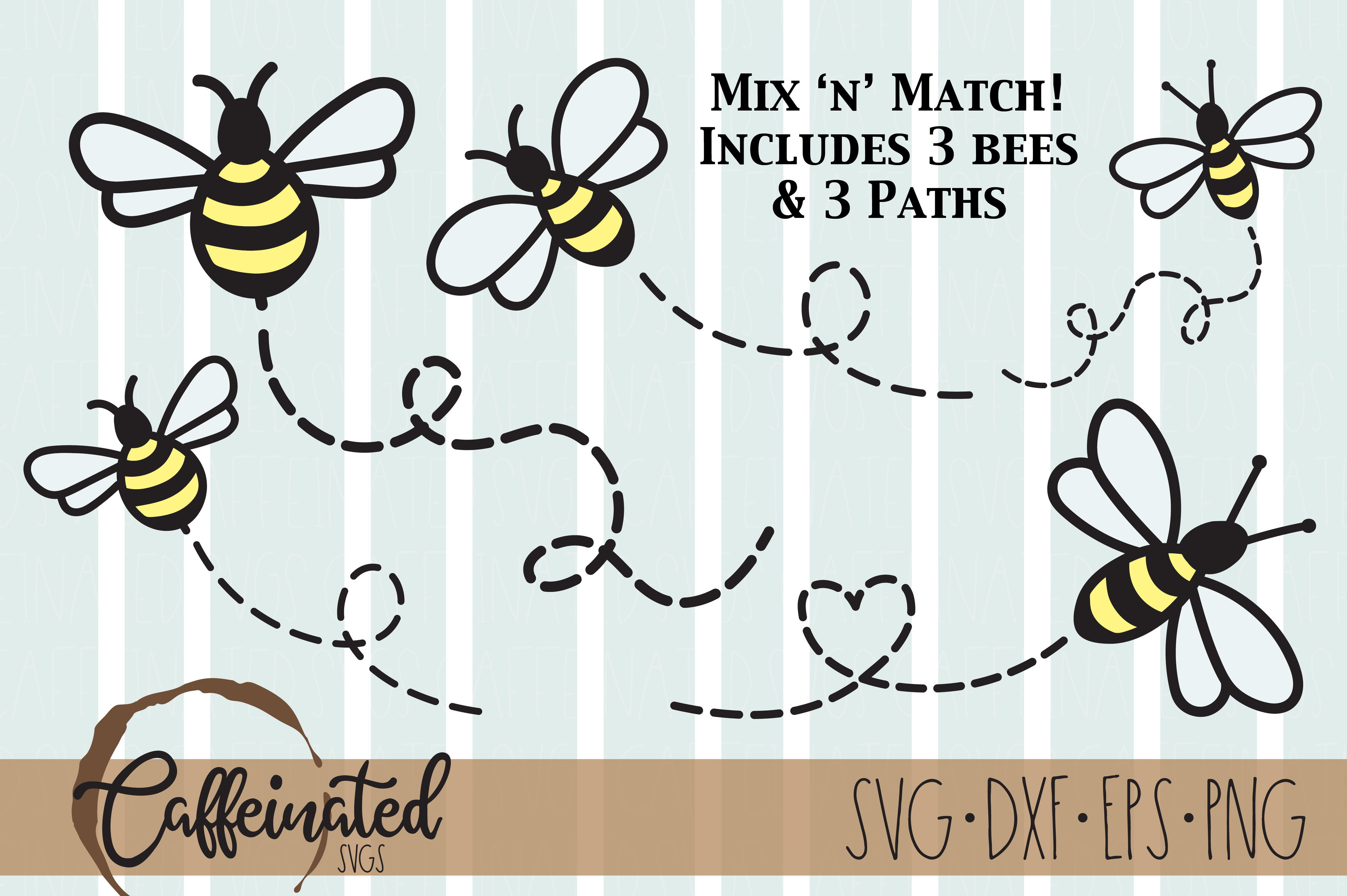 Bees, Bee Paths SVG File
