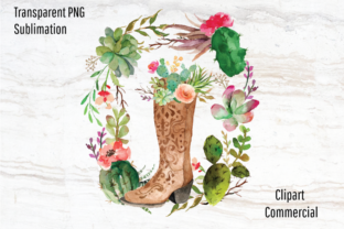 Print on Demand: Boho, Western, Cowboy Boot Cactus Wreath Graphic Graphic Templates By Blueberry Jam Design