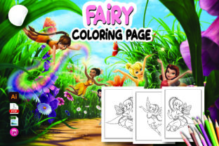 Cute Fairy Coloring Page for Kids Graphic Coloring Pages & Books By Moonz Coloring