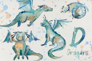 Print on Demand: Dragons - Watercolor Clip Art Set Graphic Illustrations By tatibordiu