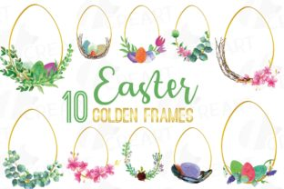 Print on Demand: Easter Egg Golden Floral Frames 4 Print Graphic Print Templates By CreartGraphics