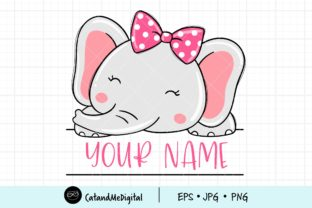 Face Girl Elephant  Graphic Illustrations By CatAndMe