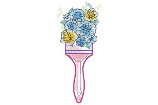 Print on Demand: Floral Paintbrush Sketch Floral Wreaths Embroidery Design By Dizzy Embroidery Designs