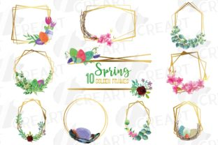 Print on Demand: Floral Spring Golden Geometric Frames Graphic Print Templates By CreartGraphics