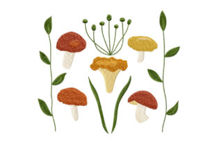 Print on Demand: Forest Mushrooms and Leaves Summer Embroidery Design By EmbArt