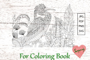 Grey Heron for Adult Coloring Book Graphic Coloring Pages & Books Adults By somjaicindy