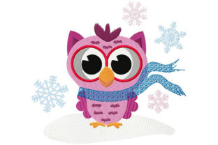 Hipster Owl and Falling Snowflakes Winter Embroidery Design By Dizzy Embroidery Designs