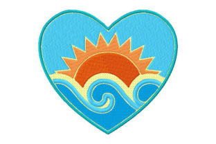 I Left My Heart at the Beach Around the world Embroidery Design By Dizzy Embroidery Designs