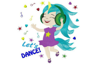 Let's Dance Unicorn Girl Having Fun Dance & Drama Embroidery Design By Dizzy Embroidery Designs