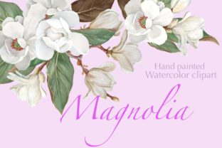 Magnolia Flower, Watercolor Floral Clip Graphic Illustrations By Marine Universe
