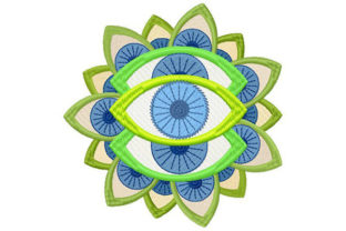Print on Demand: Mandala Trippy Eyes Awareness Embroidery Design By Dizzy Embroidery Designs