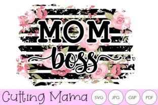 Mom Boss Sublimation Striped Floral Graphic Crafts By Cutting Mama