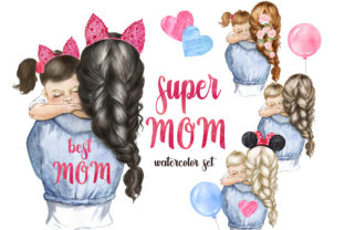 Mother's Day Clipart. Mom and Baby Png Graphic Add-ons By EvArtPrint