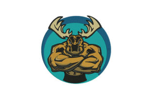 Muscular Moose Farm Animals Embroidery Design By DigitEMB