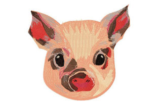 Piglet / Cute Little Pig / Animal's Face Farm Animals Embroidery Design By Dizzy Embroidery Designs