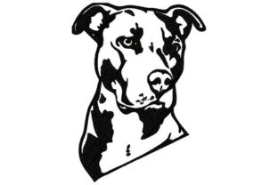 Pitbull Sketch Portrait Dogs Embroidery Design By Dizzy Embroidery Designs