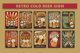 Print on Demand: Retro Vintage Cold Beer Sign Poster Graphic Illustrations By zullfikarilyas