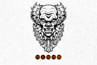 Print on Demand: Silhouette Scary Clown SVG Clipart Graphic Illustrations By artgrarisstudio