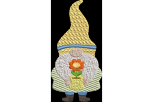 Spring Gnome with Flower Märchen Stickdesign von Wingsical Whims Designs