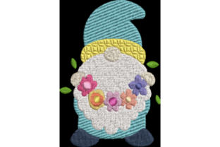 Spring Gnome with Flowers Spring Embroidery Design By Wingsical Whims Designs
