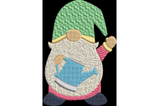 Spring Gnome with Water Can Spring Embroidery Design By Wingsical Whims Designs
